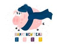 Postal con el cerdo divertido lindo - símbolo del año en el calendario chino 2019 Personaje de dibujos animados guarro Ilustració ilustración del vector