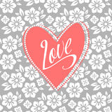Postal con el corazón de la turquesa en floral blanco stock de ilustración