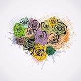 Postal con el corazón floral Fotografía de archivo libre de regalías