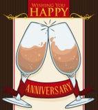 Postal con el diseño distinguido con las copas de vino, ejemplo del aniversario del vector ilustración del vector