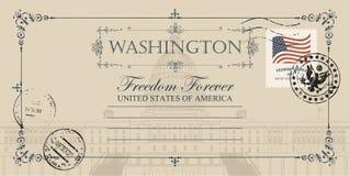 Postal con el edificio del capitolio de los E.E.U.U. en Washington DC stock de ilustración