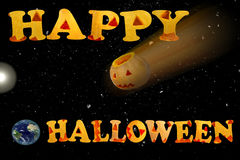 Postal con el feliz Halloween de las palabras La estrella de la muerte imagenes de archivo