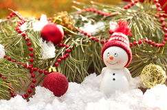 Postal con el muñeco de nieve y la Navidad Fotografía de archivo libre de regalías
