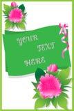 Postal-con-hermoso-rosado-peonía-para-día de fiesta-saludos ilustración del vector