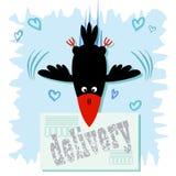 Postal con la imagen de un cuervo alegre stock de ilustración