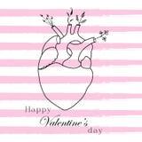 Postal con la imagen del corazón linear del cual crece las flores ilustración del vector