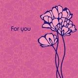 Postal con las flores Imagenes de archivo
