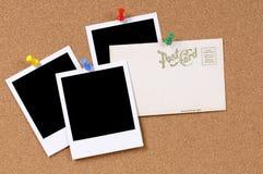 Postal con las impresiones en blanco de la foto Imágenes de archivo libres de regalías