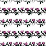 Postal con las ramas y las hojas Postal elegante y moderna Modelo inconsútil con las flores rosadas de la magnolia Imagen de archivo libre de regalías
