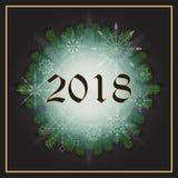 Postal con los copos de nieve, branc del Año Nuevo de los días de fiesta 2018 del árbol de pino Fotografía de archivo