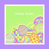 Postal con los huevos de Pascua Fotos de archivo libres de regalías