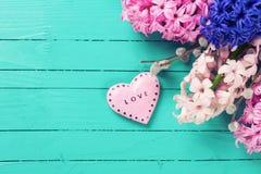 Postal con los jacintos rosados y corazón decorativo en verde Fotografía de archivo libre de regalías