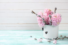 Postal con los jacintos y las flores del sauce Fotos de archivo libres de regalías
