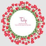 Postal con los tulipanes rojos situados en el borde Arreglado en un círculo Flores del estilo del polígono Foto de archivo libre de regalías