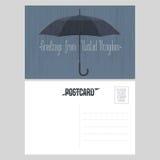 Postal con saludos de Reino Unido, Reino Unido con el ejemplo del vector del paraguas ilustración del vector