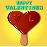 Postal con un esquimal el día del ` s de la tarjeta del día de San Valentín Fotografía de archivo