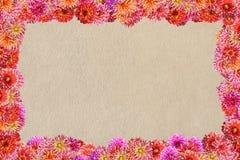 Postal con un marco de flores en un fondo del fi sintético foto de archivo libre de regalías