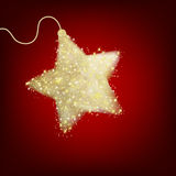 Postal con una estrella del rojo del centelleo. EPS 8 Fotos de archivo libres de regalías
