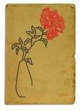 Postal con una imagen de una flor roja Imágenes de archivo libres de regalías