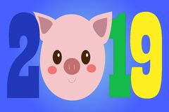 Postal creativa por nuevo 2019 años con el cerdo lindo ilustración del vector