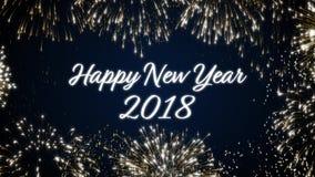 Postal de colocación del social de la Feliz Año Nuevo 2018 con los fuegos artificiales animados del oro en fondo negro y azul ele
