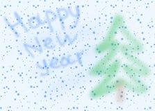 Postal de imagen con los copos de nieve y Año Nuevo Imágenes de archivo libres de regalías