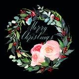 Postal de la acuarela de la guirnalda de la Navidad imagen de archivo
