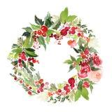 Postal de la acuarela de la guirnalda de la Navidad imagen de archivo libre de regalías