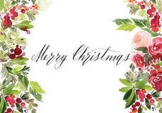 Postal de la acuarela de la Navidad imagen de archivo