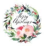 Postal de la acuarela de la Navidad foto de archivo