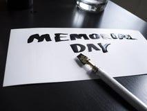 Postal de la caligrafía y de las letras del Memorial Day Opinión de perspectiva Fotografía de archivo libre de regalías