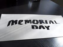 Postal de la caligrafía y de las letras del Memorial Day Perspectiva y visión clara Foto de archivo libre de regalías