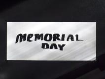 Postal de la caligrafía y de las letras del Memorial Day Visión superior y clara Foto de archivo libre de regalías