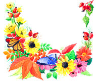 Postal de la estación del otoño de jardines Imagen de archivo