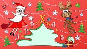 Postal de la feliz Navidad con Papá Noel y Rudolph Foto de archivo libre de regalías