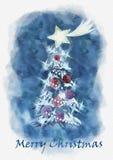 Postal de la Feliz Navidad Ilustración de la acuarela ilustración del vector