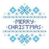 Postal de la Feliz Navidad Punto de cruz stock de ilustración