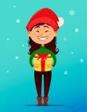 Postal de la Feliz Navidad y de la Feliz Año Nuevo Muchacha sonriente linda en el sombrero de la Navidad que sostiene la caja de  libre illustration