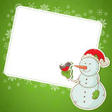 Postal de la invitación del muñeco de nieve de la Navidad Imagenes de archivo