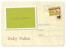 Postal de la llegada del bebé Imagen de archivo libre de regalías