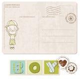 Postal de la llegada del bebé con el conjunto de sellos Fotografía de archivo libre de regalías
