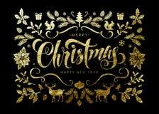 Postal de la Navidad con los elementos de la Navidad de la hoja de oro Imagen de archivo