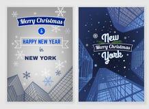 Postal de la Navidad de la ciudad Foto de archivo