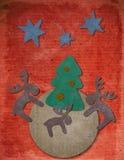 Postal de la Navidad de la vendimia Fotografía de archivo libre de regalías