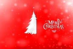 Postal de la Navidad del vintage con el árbol de navidad de papel verdadero Fotos de archivo libres de regalías