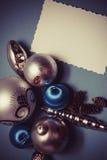 Postal de la Navidad en colores azules Imagenes de archivo