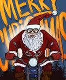 Postal de la Navidad de la historieta del vector - Santa Claus en la motocicleta ilustración del vector