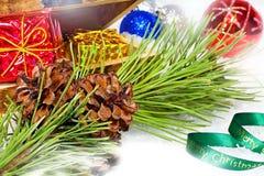 Postal de la Navidad Saludos coloridos hermosos de la Navidad con los conos del pino en una rama con las decoraciones de la Navid Fotografía de archivo libre de regalías