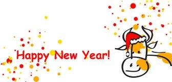 Postal de la vaca del Año Nuevo Imágenes de archivo libres de regalías