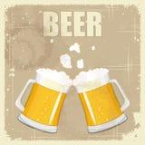 Postal de la vendimia, menú de la cubierta - cerveza Foto de archivo libre de regalías